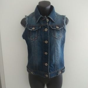 Denim distressed jean vest by Highway Small